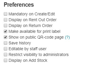 print labels - custom fields preferences