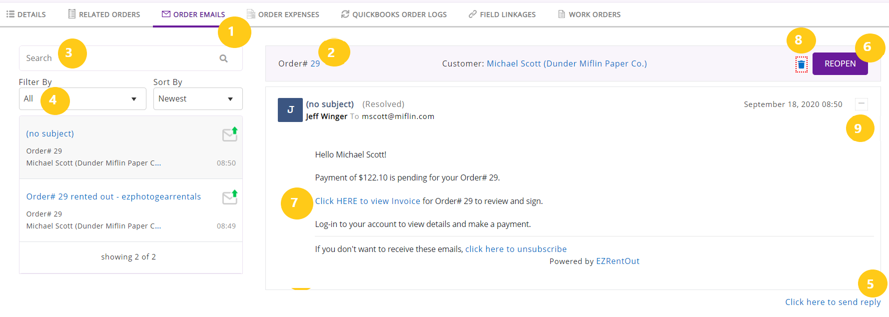 Order emails tab - 1