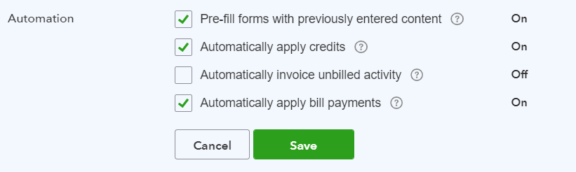 automatically apply credits settings