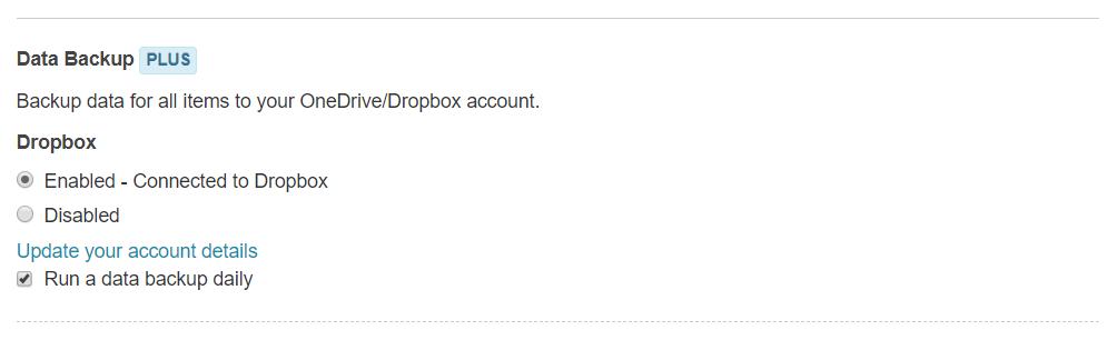 Dropbox integration - Run data backup daily using Dropbox
