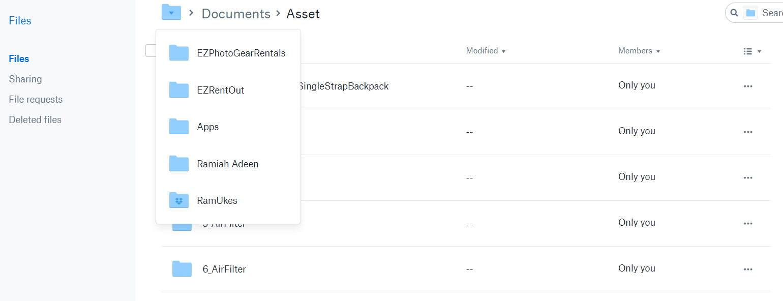 Dropbox integration - View of the Dropbox Account