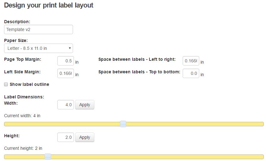 Print Label Layout