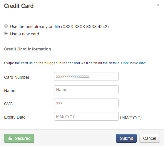 Credit Card dialog box