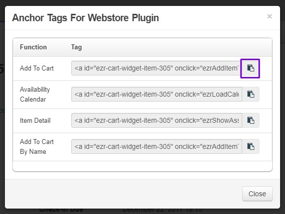 webstore plugin anchor tags