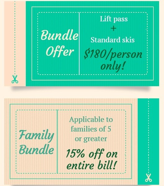 Ski rental discounts and promotions