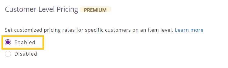 Enable customer level pricing
