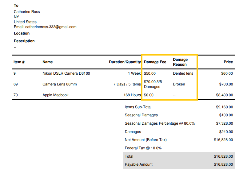 12. Visual of invoice with line item damages