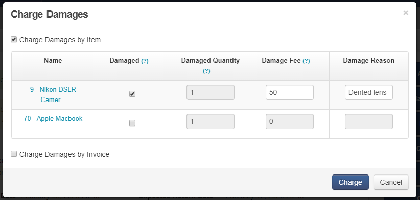 4. Charge damages by line item