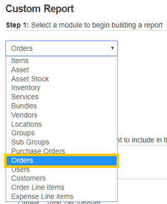 8. Choose module for report