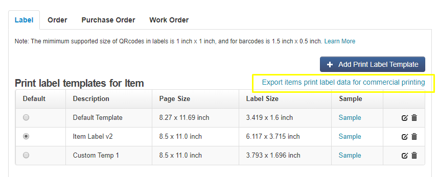 export label data for commercial printing