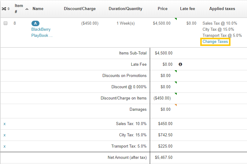 4. Change line item taxes from Order details page