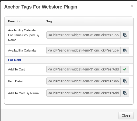 anchor tags for webstore plugin