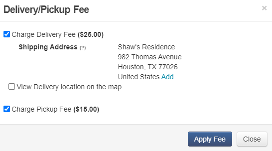 overlay for applying fees