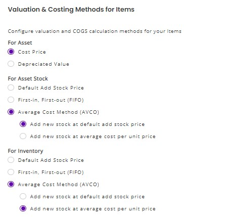 average cost method for inventory and asset stock